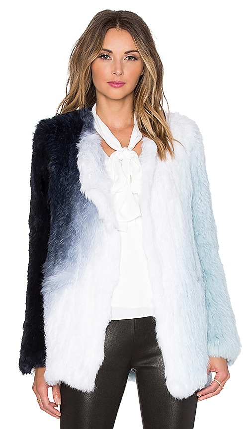 Elizabeth and James Beatrix Rabbit Fur Jacket in Jewel Blue