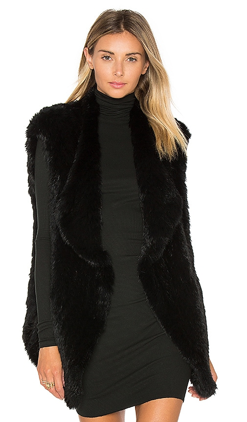 Elizabeth and James Isla Rabbit Fur Vest in Black