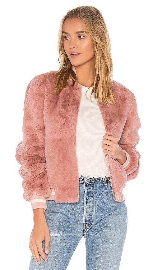 Elizabeth and James Ellington Fur Bomber Jacket in Pink