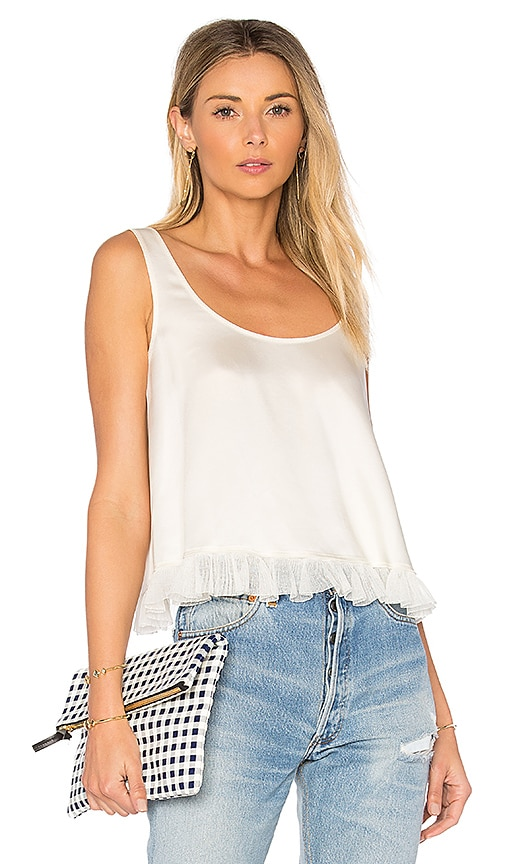 Elizabeth and James Andrea Cropped Ruffle Top in Cream
