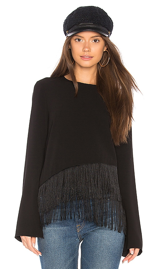 Elizabeth and James Hudson Fringe Top in Black