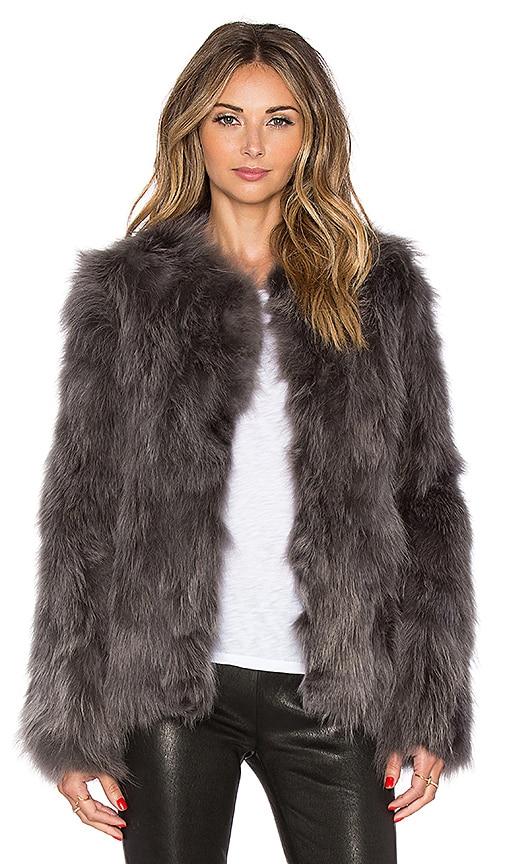 EAVES Helen Fox Fur Jacket in Gray