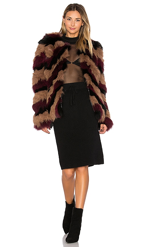 EAVES Bianca Fox Fur Jacket in Brown