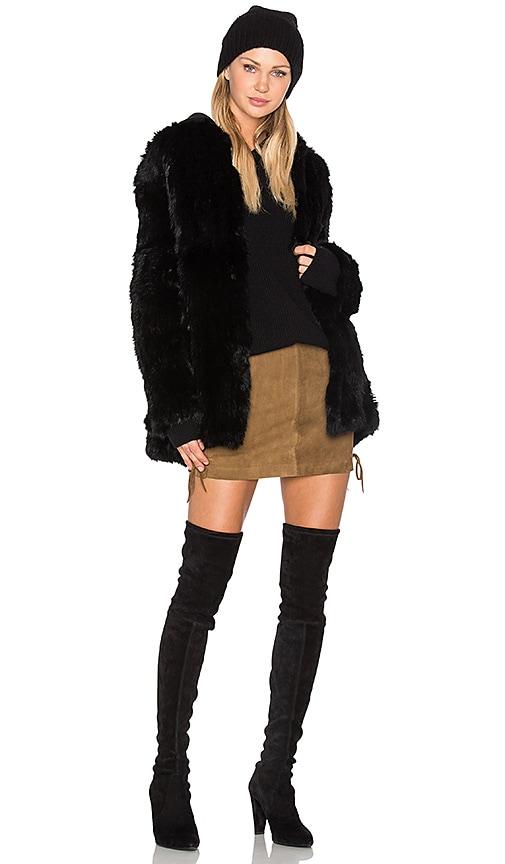 EAVES Denver Rabbit Fur Jacket in Black