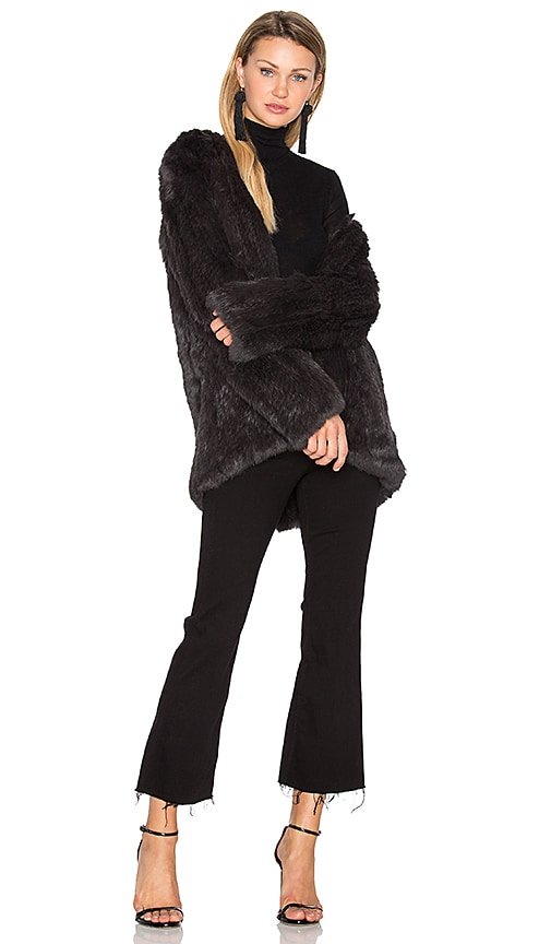 EAVES Denver Rabbit Fur Jacket in Charcoal