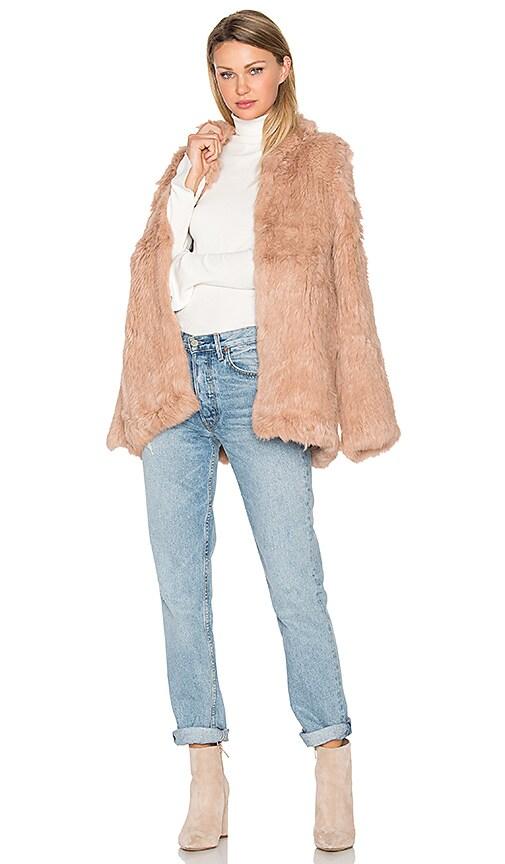 EAVES Denver Rabbit Fur Jacket in Blush