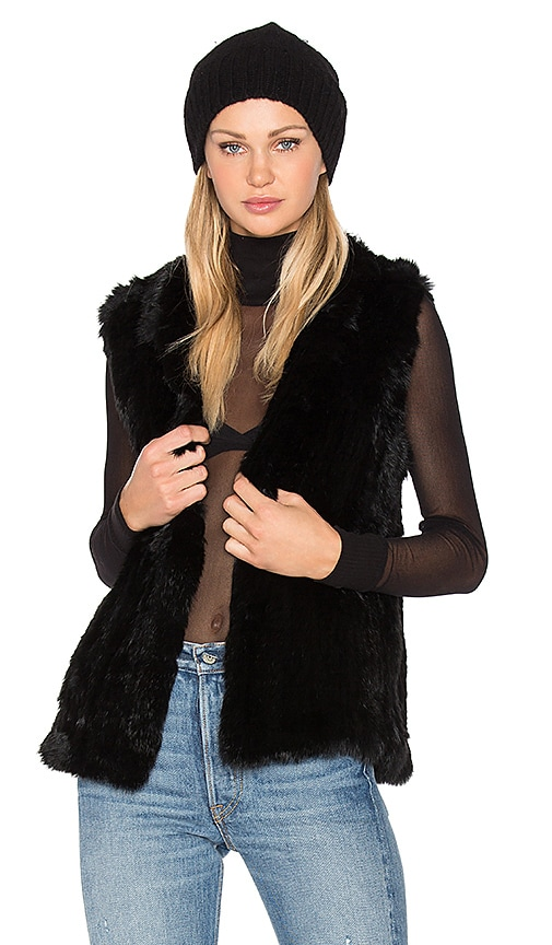 EAVES Denver Rabbit Fur Vest in Black