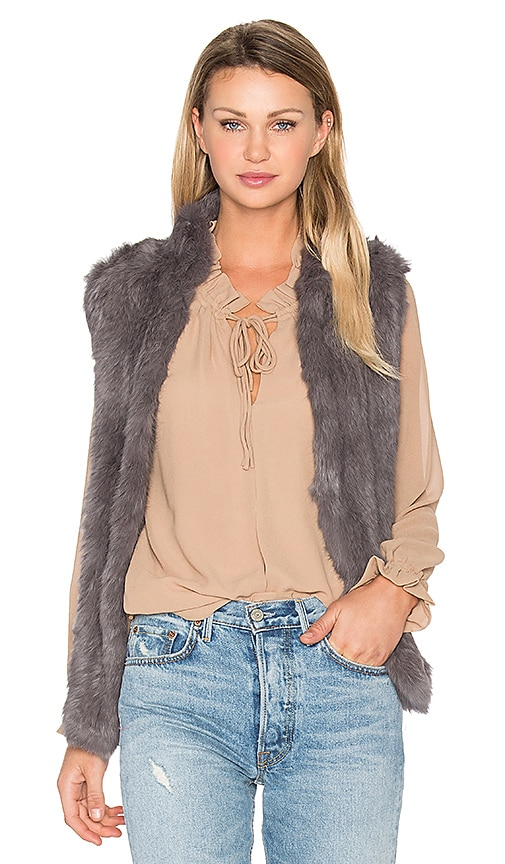 EAVES Denver Rabbit Fur Vest in Grey