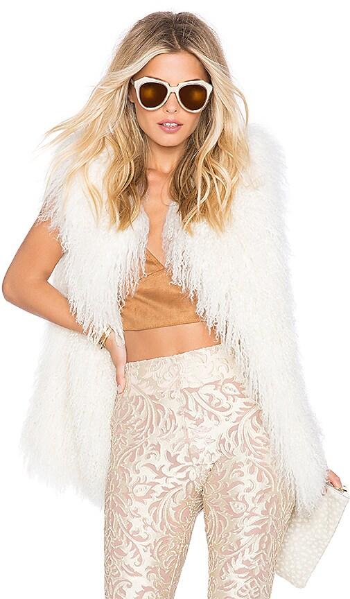 EAVES Darla Lamb Fur Vest in Blush