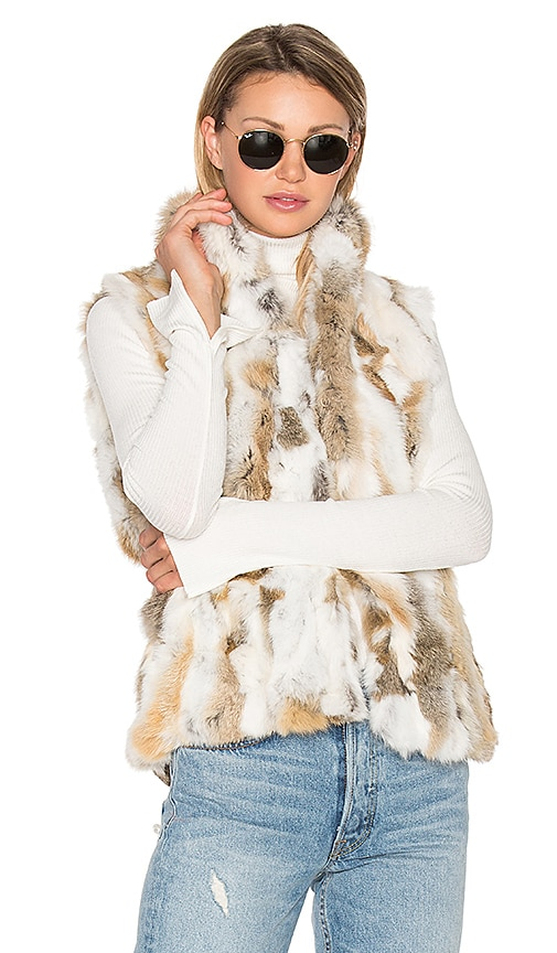 EAVES Denver Rabbit Fur Vest in Beige