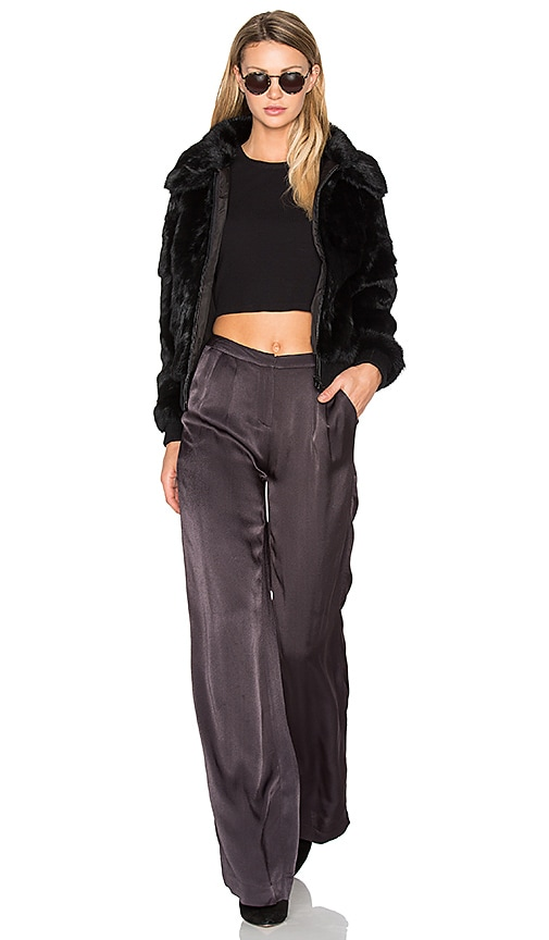 EAVES Kaya Cropped Rabbit Fur Jacket in Black