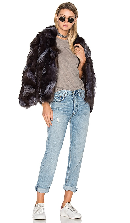 EAVES Jessa Fox Fur Jacket in Charcoal