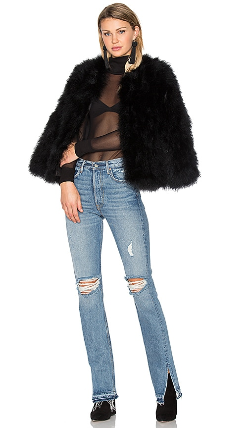 EAVES Delilah Ostrich Feather Jacket in Black