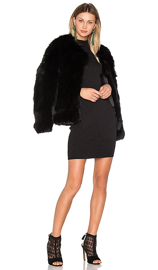 EAVES Helen Fox Fur Jacket in Black