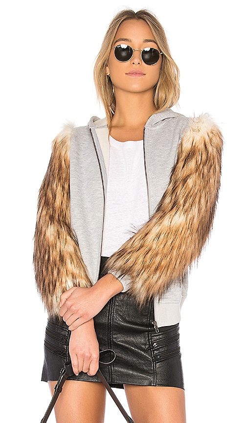 EAVES x REVOLVE Elliot Faux Fur Hoodie Jacket in Gray