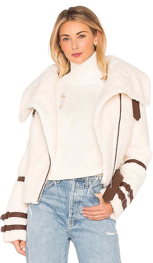 EAVES Bailey Moto Jacket in White