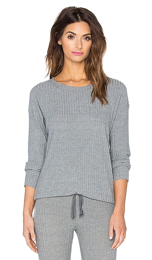 eberjey Cozy Rib Long Sleeve Tee in Heather Grey