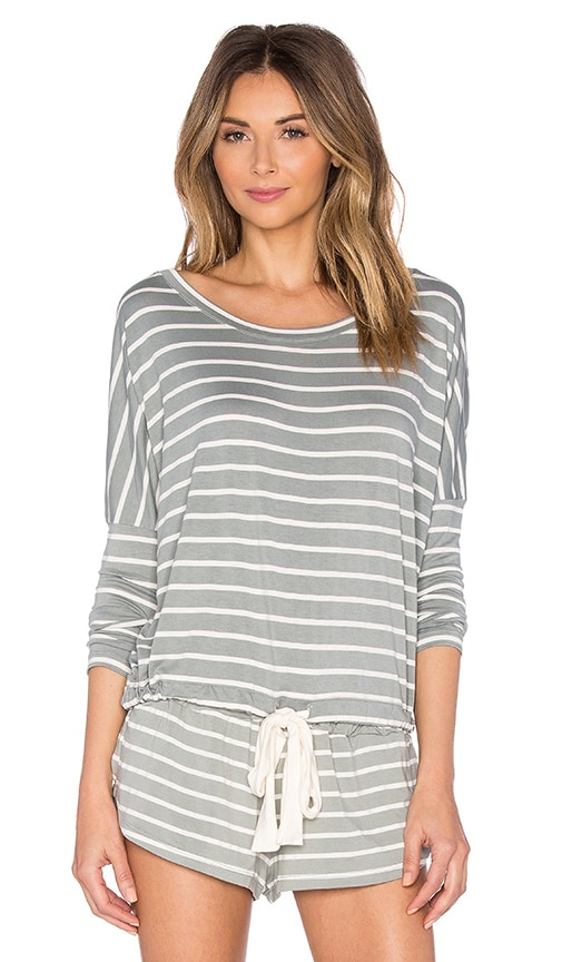 eberjey Lounge Stripes Slouchy Top in Gray