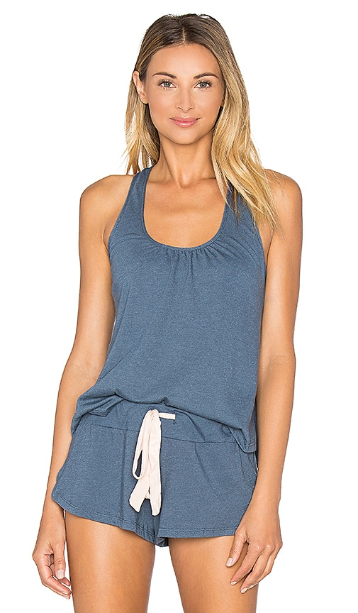 eberjey Heather Shelf Bra Racerback Tank in Navy