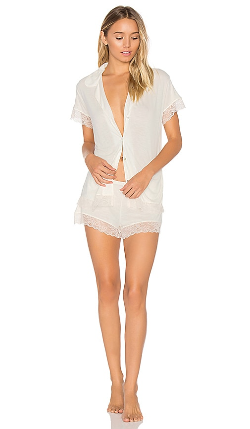 free shipping eberjey Malou Lace PJ Set in Bone & Frosted Cream