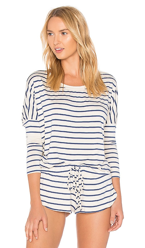 eberjey Lounge Stripes Slouchy Tee in Ivory