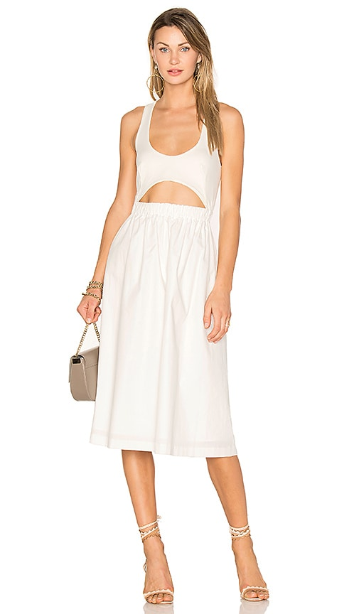 EDIT Elasticated Cut Out Top Dress in White