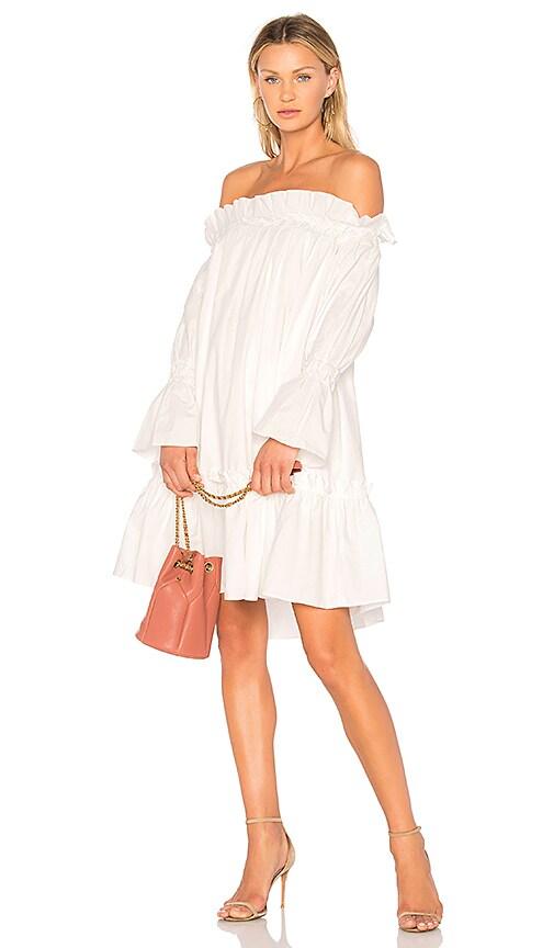 EDIT Off Shoulder Smocked Dress in White