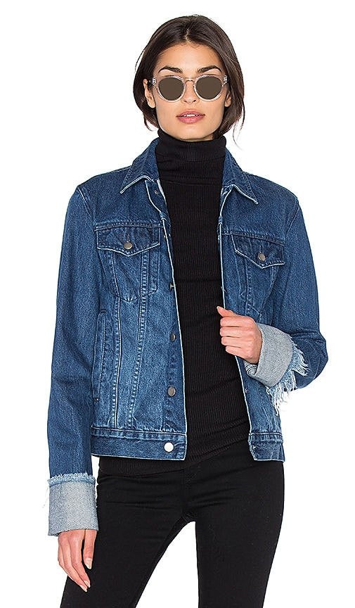 EDIT Turn Up Sleeve Jacket in Dark Wash