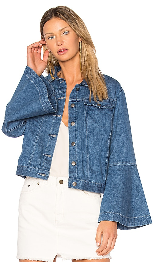 EDIT Flute Sleeve Denim Jacket in Light Wash