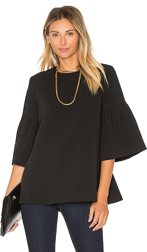 EDIT Long Sleeve Flute Sleeve Top in Black