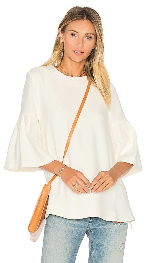 EDIT Long Sleeve Flute Sleeve Top in White