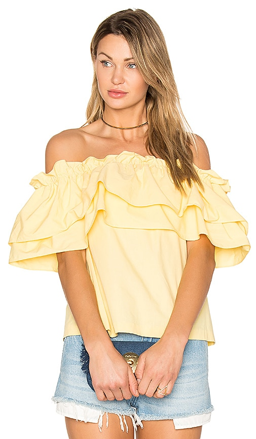 EDIT Double Ruffle Off Shoulder Top in Yellow