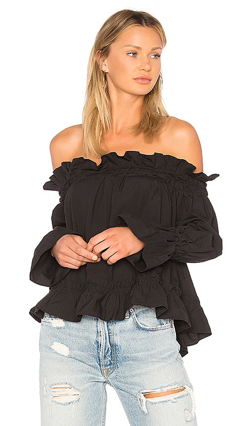 EDIT Off Shoulder Smock Top in Black
