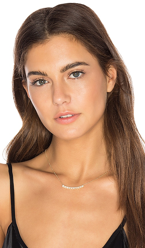 EF COLLECTION Multi Triangle Crescent Necklace in Metallic Gold