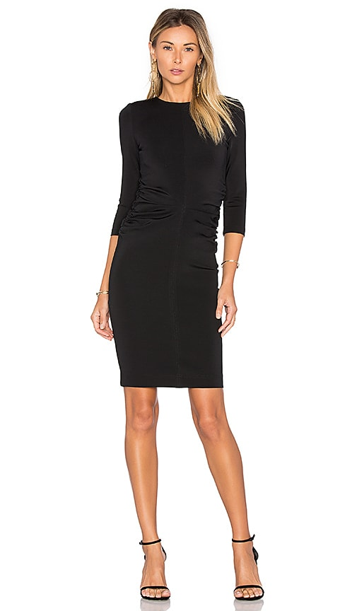 EGREY Shirred 3/4 Sleeve Dress in Black