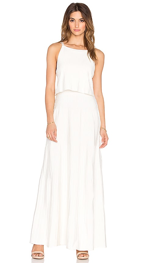 EGREY Layered Ribbed Maxi Dress in Off White