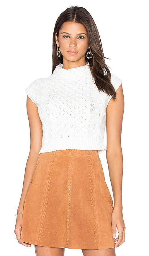 EGREY Anna Crop Sleeveless Sweater in White