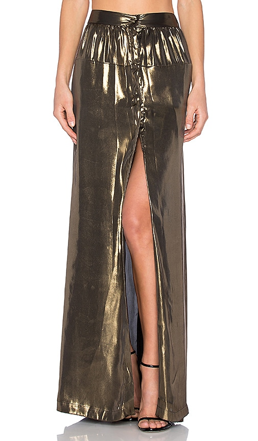 EGREY Lame Slit Maxi Skirt in Metallic Gold