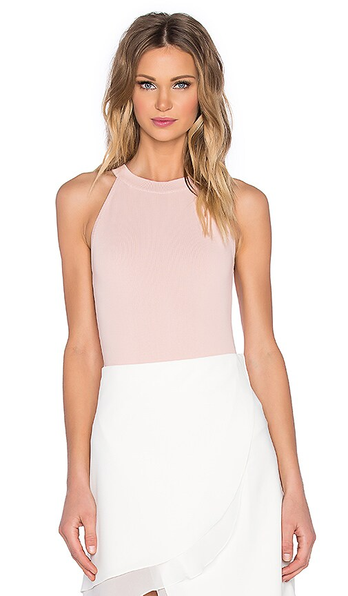 EGREY American High Collar Bodysuit in Light Pink  f301442fa