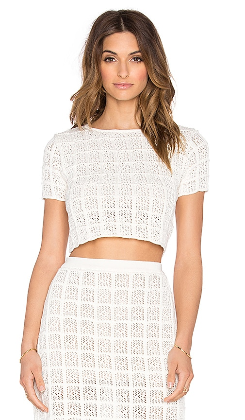 EGREY Square Crop Top in Off White
