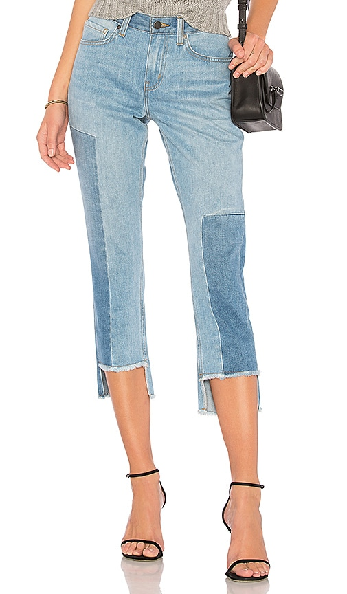 ei8ht dreams Uneven Hem Cropped Straight Jean in Multi