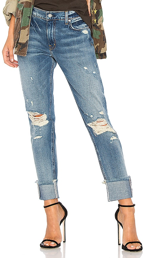 ei8ht dreams Cuffed Slim Boyfriend Jeans in Mid Wash Destroyed