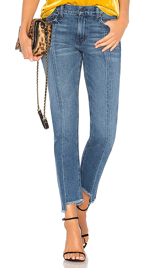 ei8ht dreams Uneven Hem Cropped Straight Jean in Dark Wash