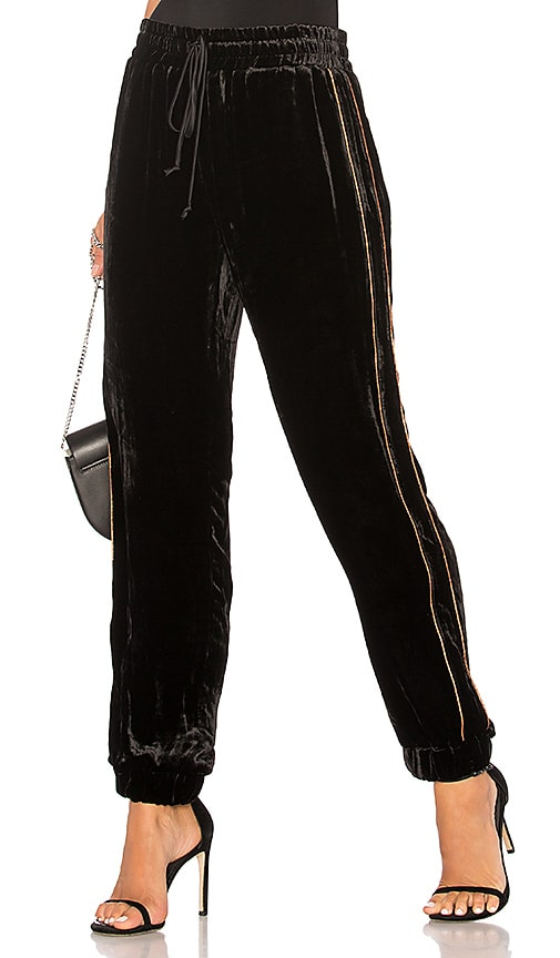 ei8ht dreams Velvet Drawstring Jogger Pants in Black