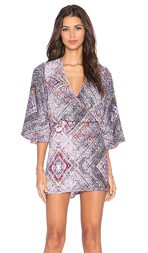 Eight Sixty Daydream Bell Sleeve Dress in Lavender & Tangerine