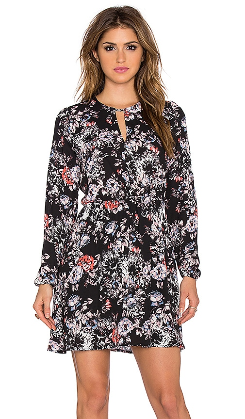 Eight Sixty Rebecca Floral Dress in Black & Pink