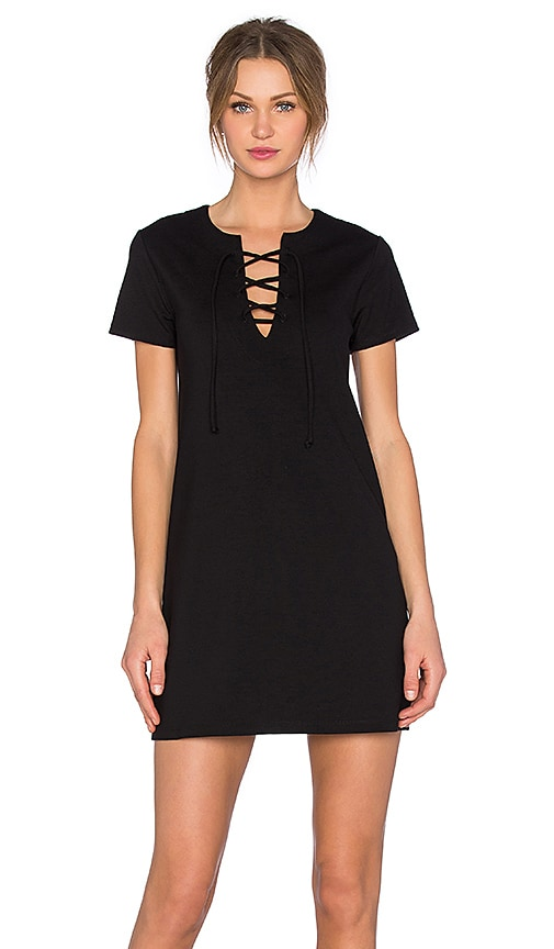Eight Sixty Ponte Lace Front Dress in Black