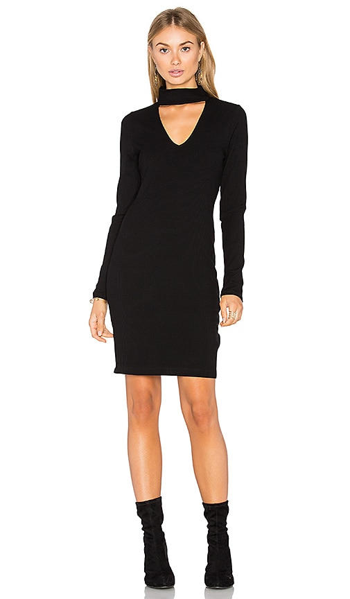 Eight Sixty Long Sleeve Ribbed Dress in Black