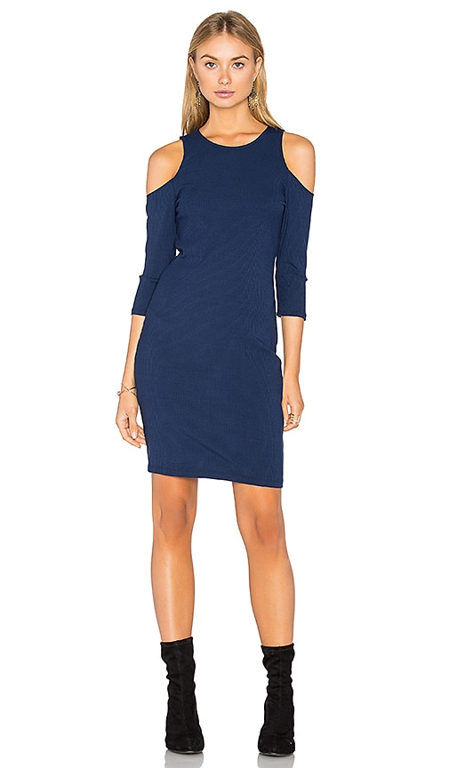 Eight Sixty Cold Shoulder Ribbed Dress in Navy