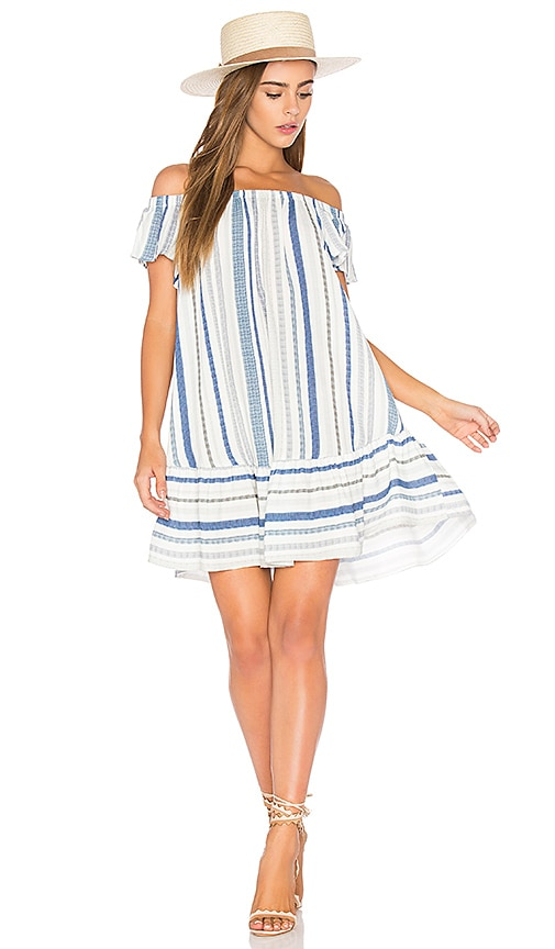 Eight Sixty Off Shoulder Stripe Dress in Blue